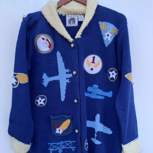 Handknits By Storybook Knits Airplanes Cardigan